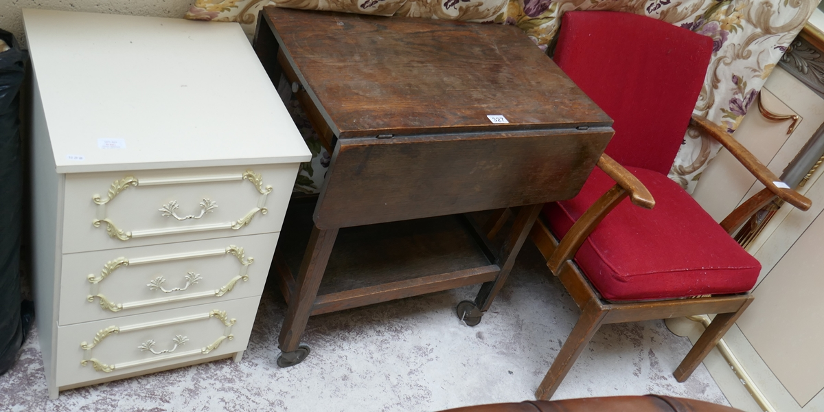 Oak serving trolley, white bedside cabinet and mid-century chair