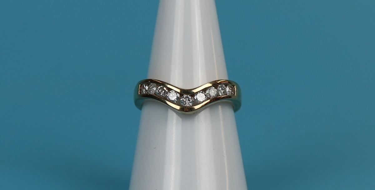 Gold channel set diamond wishbone ring (.5ct diamonds)