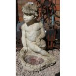Stone statue of boy - Approx H: 61cm
