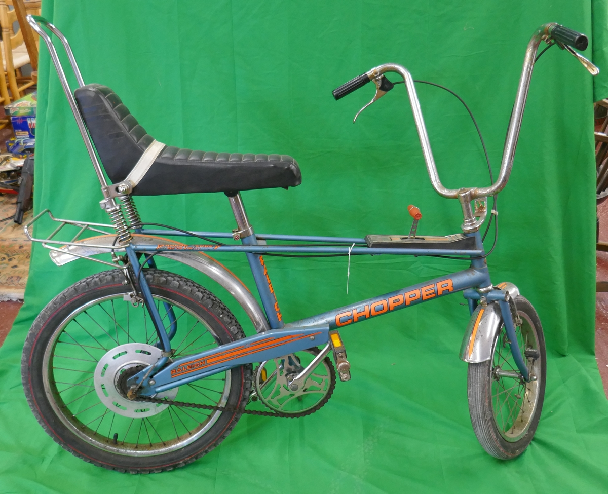 Raleigh chopper MKII space blue completely original (including tyres) Nottingham made, November 1976