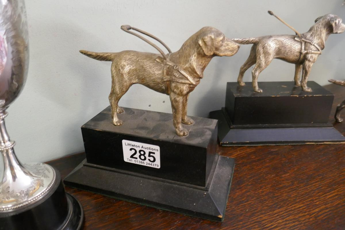 3 white metal guide dog figures & Mappin & Webb cup - Image 3 of 5