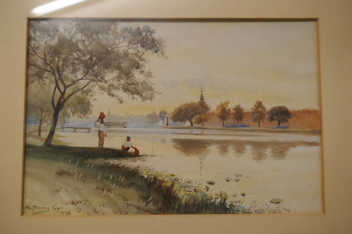 Pair of antique watercolours by Burmese artist Maung Maung Gyl - Image 6 of 10