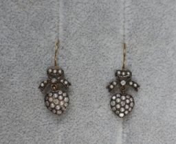Pair of diamond & pearl heart shaped earrings