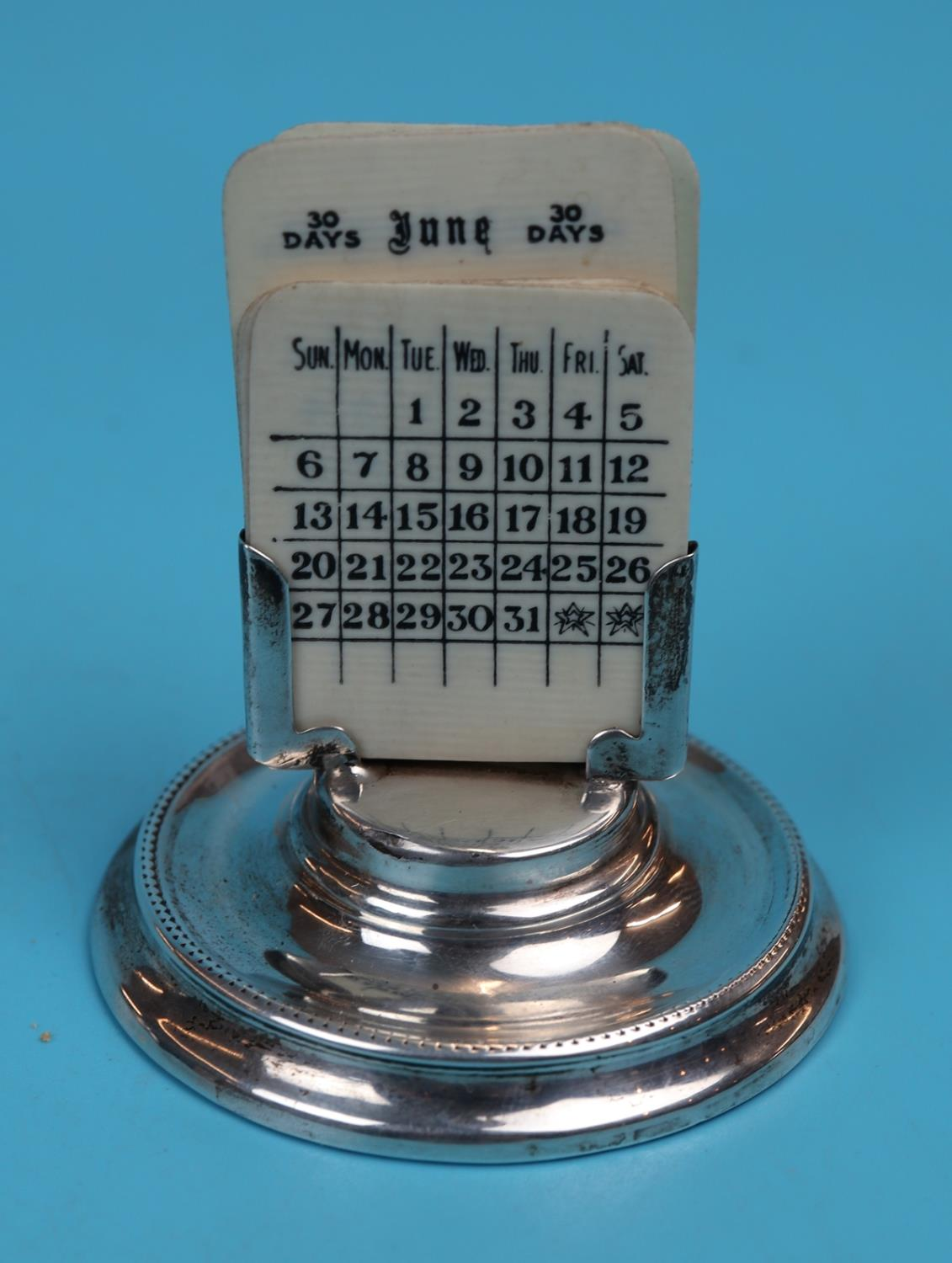 Hallmarked silver matching calendar & inkwell with Ivory tablets - London 1925 - J Aldridge & Sons - Image 3 of 12