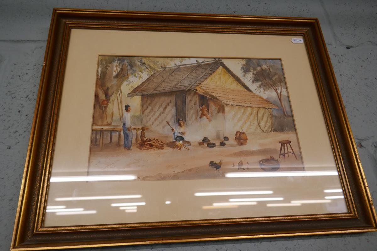 Pair of antique watercolours by Burmese artist Maung Maung Gyl - Image 4 of 10