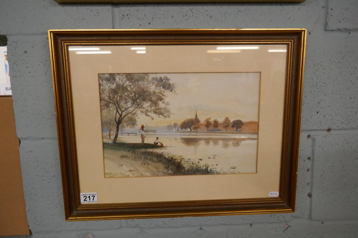 Pair of antique watercolours by Burmese artist Maung Maung Gyl - Image 2 of 10