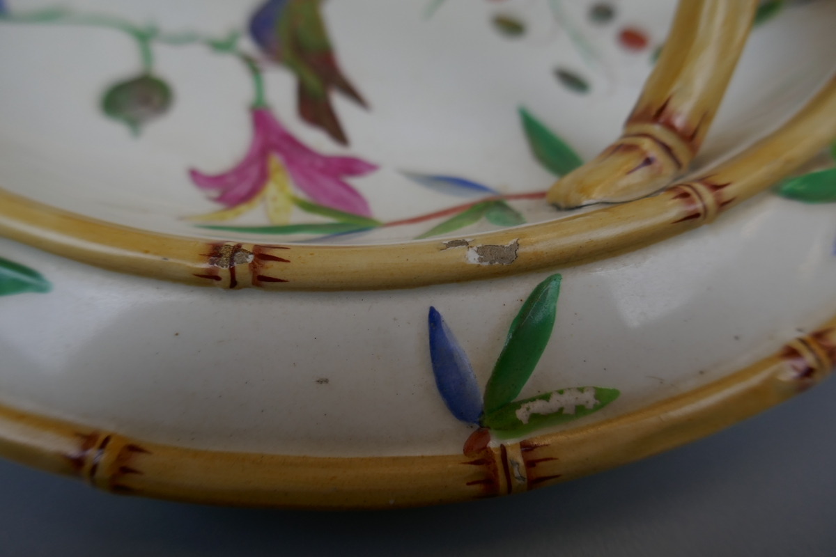 Wedgwood bamboo effect majolica plate depicting wildlife - Image 3 of 9