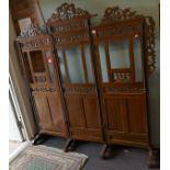 Carved 3 fold Oriental dressing screen
