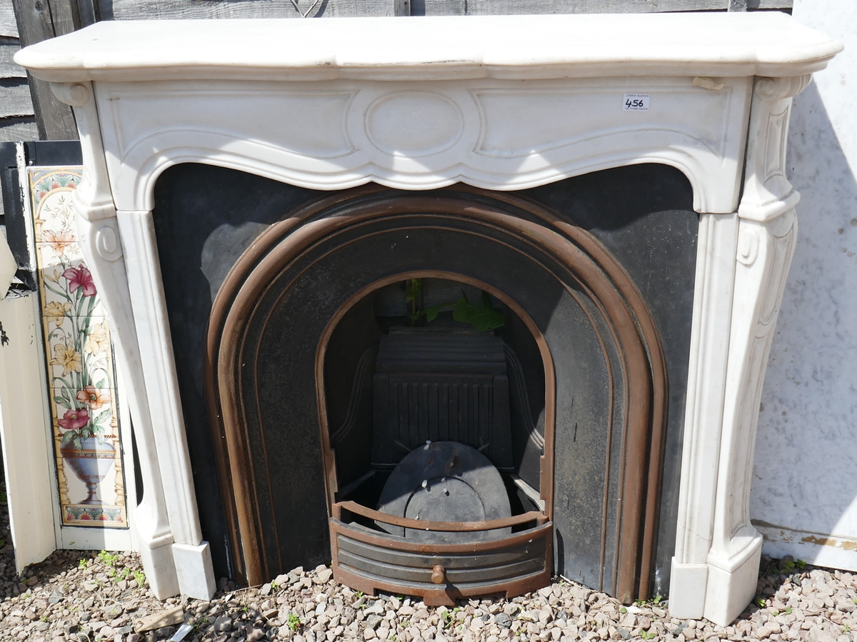 Cast iron fire insert with marble surround - W: 124cm D: 38cm H:105cm