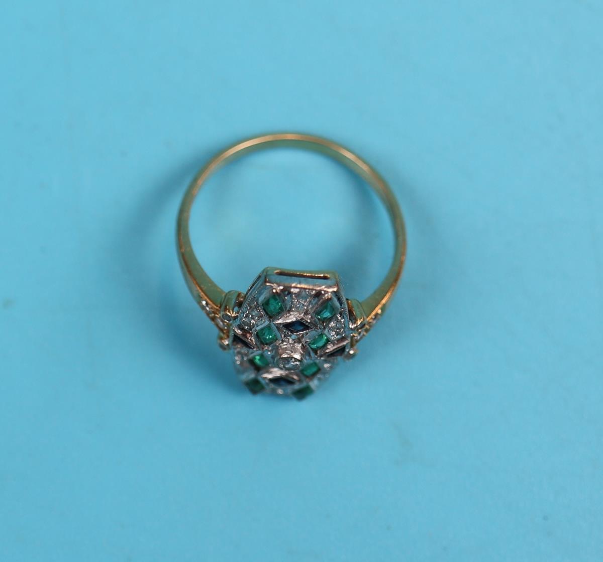 18ct gold Deco style sapphire, emerald & diamond ring - Image 2 of 2