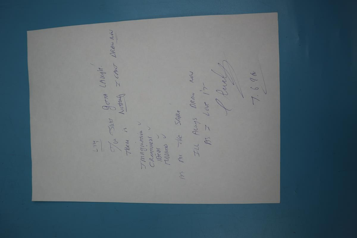 Signed original Charles Bronson A4 Jail Art - 1996 - Image 2 of 2