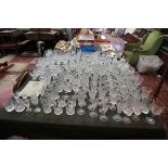 Huge collection of glass to include Stuart Crystal, Royal Doulton, Thomas Webb, Decanters, Vases and