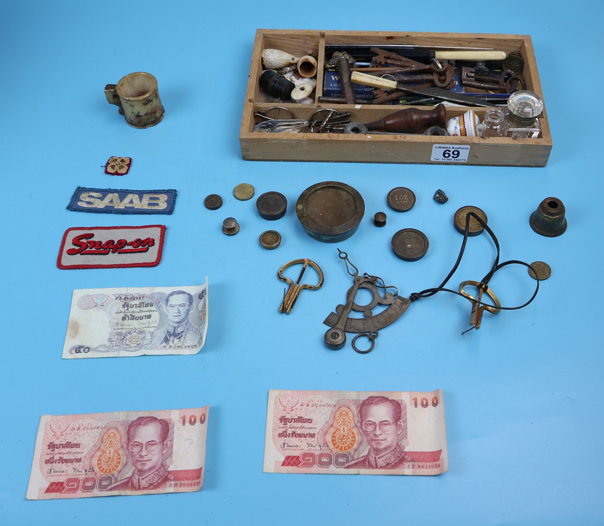 Collection of curios & collectables to include keys, postage scales etc