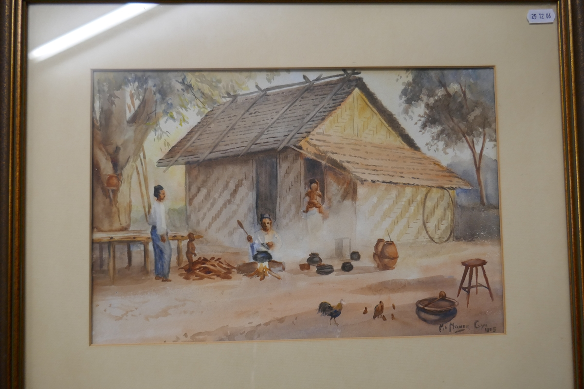 Pair of antique watercolours by Burmese artist Maung Maung Gyl - Image 9 of 10