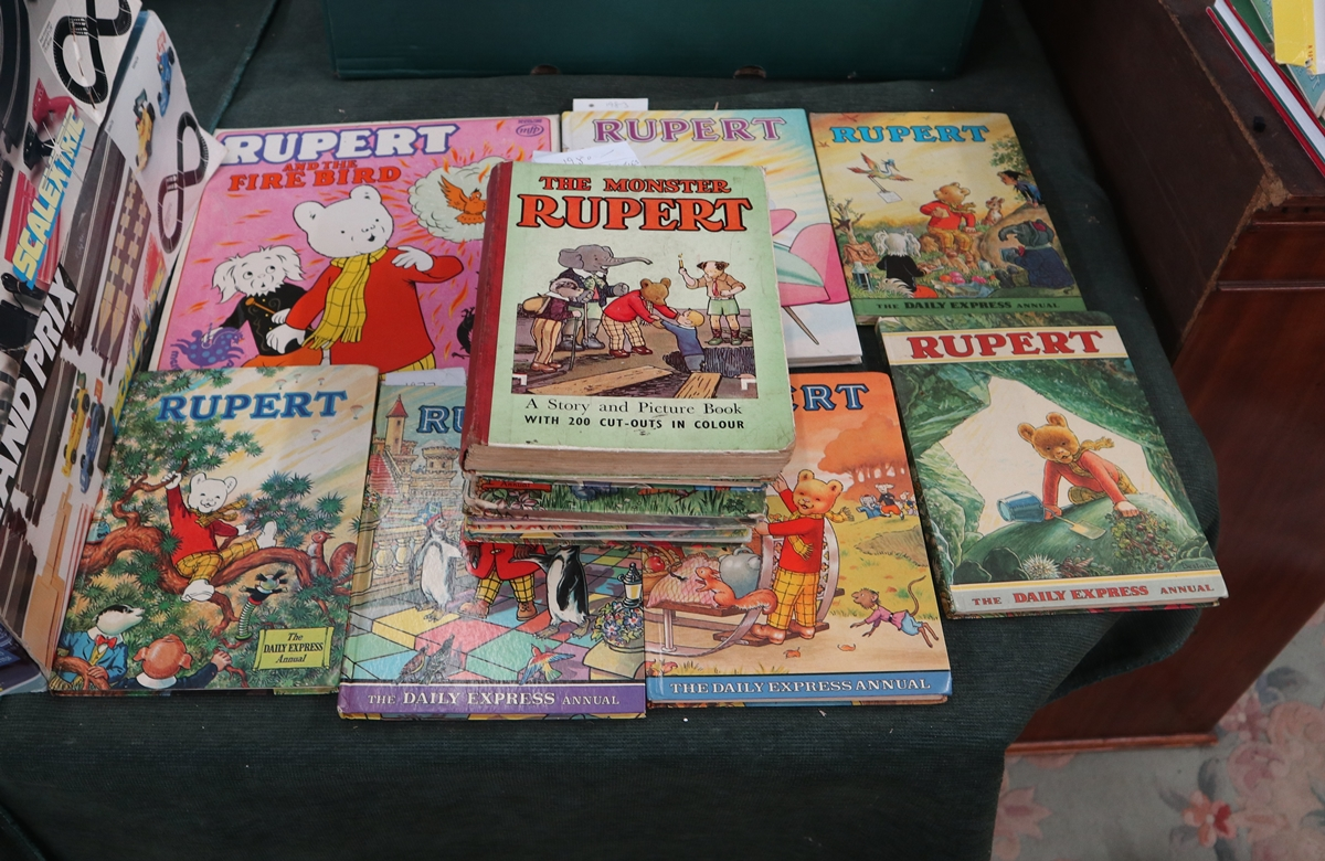 Large collection of Rupert the Bear annuals to include 1958 Monster Annual with activities not