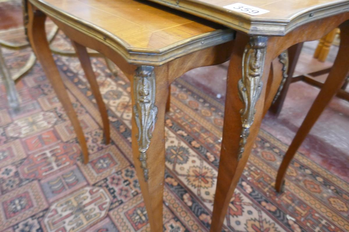 Nest of 2 French inlaid tables with Ormolu mounts - Image 3 of 4