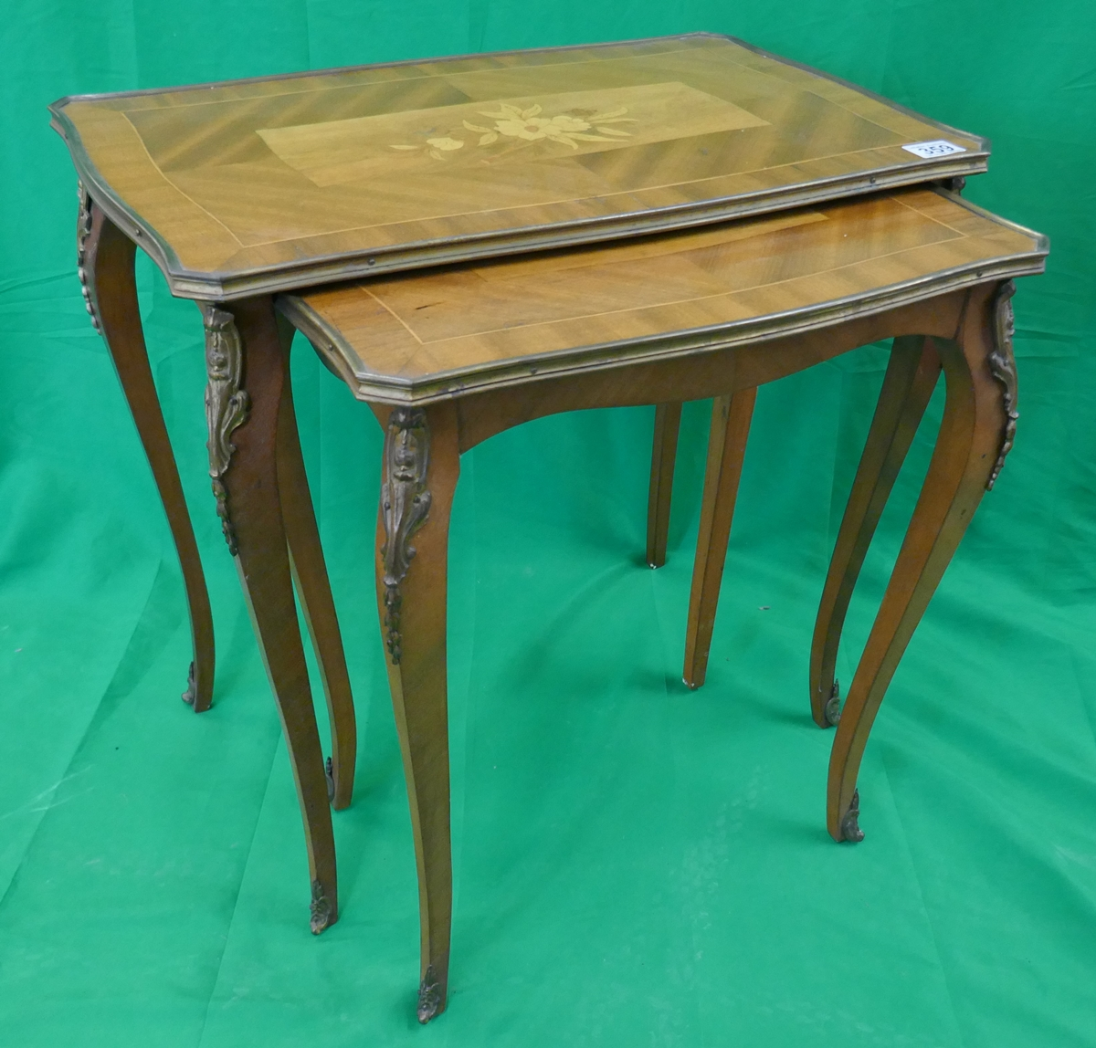 Nest of 2 French inlaid tables with Ormolu mounts