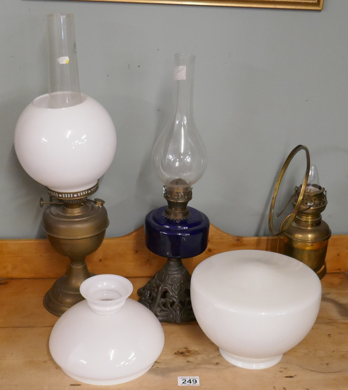 Oil lamps to include cobalt blue example