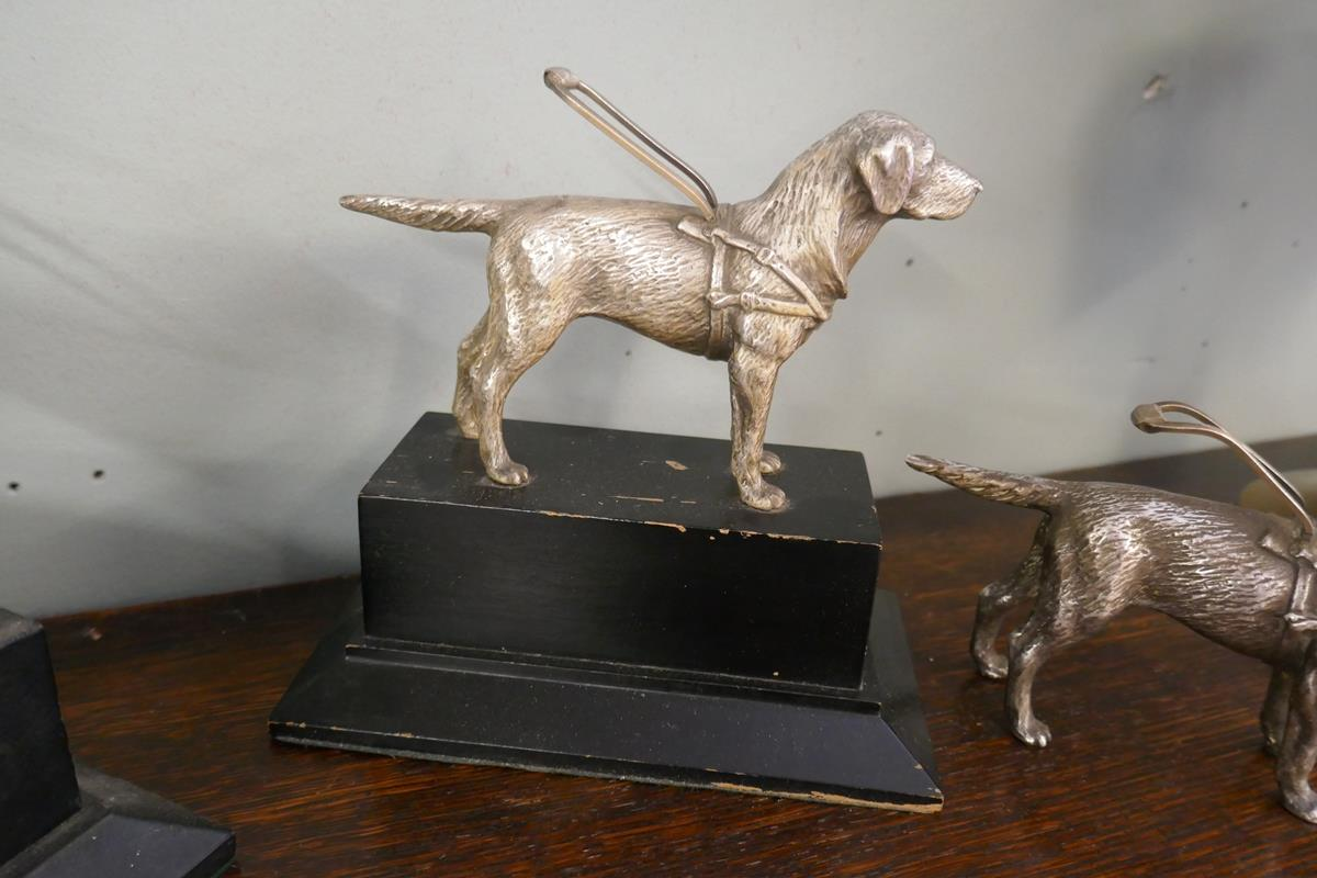 3 white metal guide dog figures & Mappin & Webb cup - Image 4 of 5