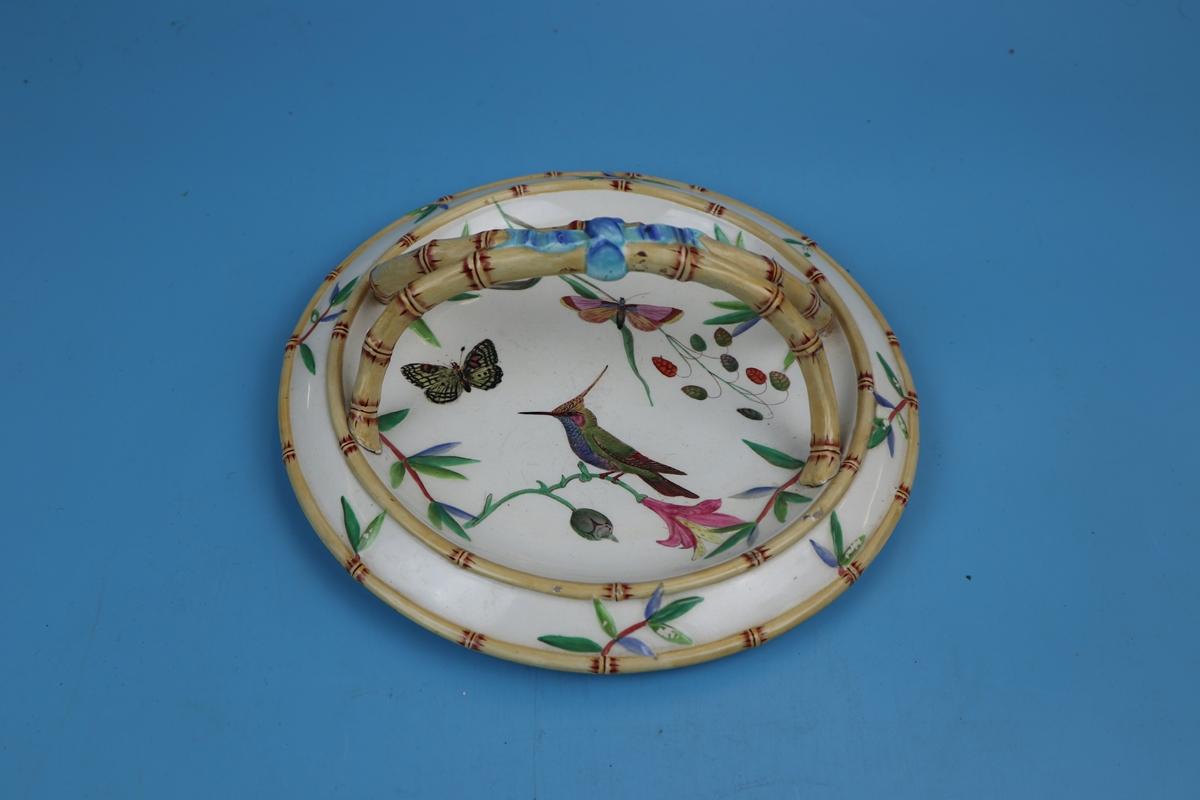 Wedgwood bamboo effect majolica plate depicting wildlife