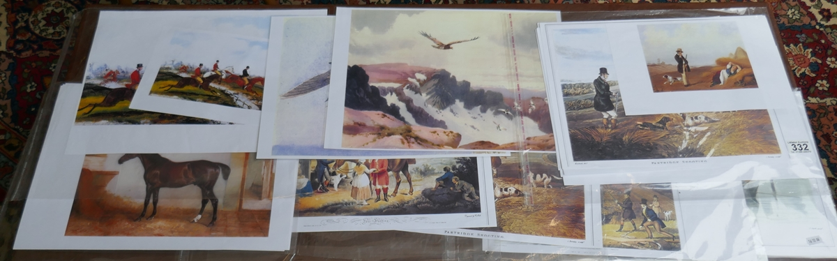 Collection of unframed gentlemen sporting prints