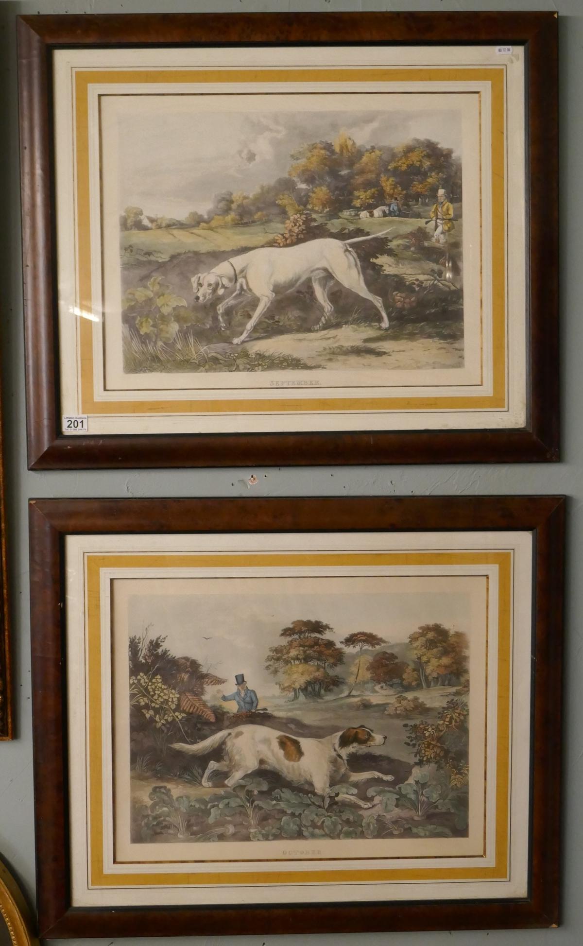 Pair of hunting prints entitled September & October