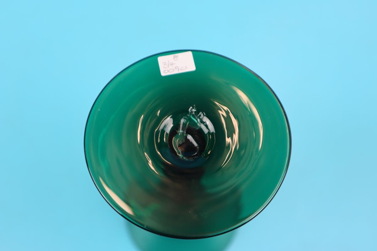 Set of 4 early green glass fluted wine glasses - Image 2 of 2