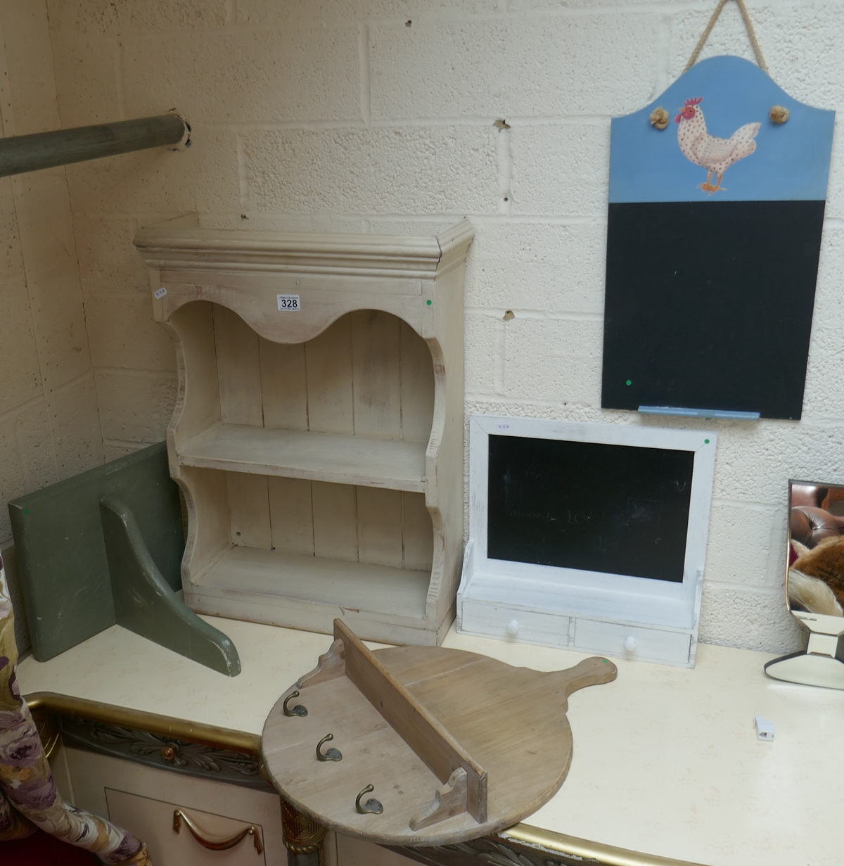 Collection of shelves, black boards etc