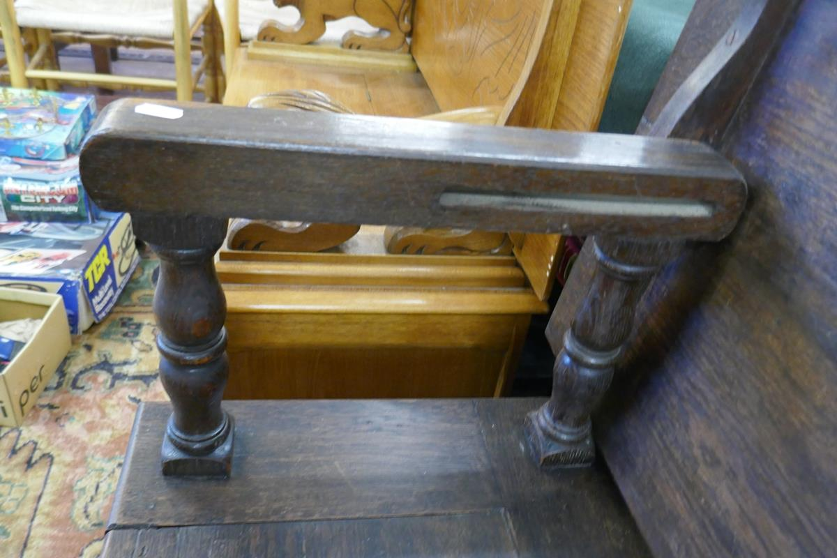 Oak monks bench - Image 2 of 5