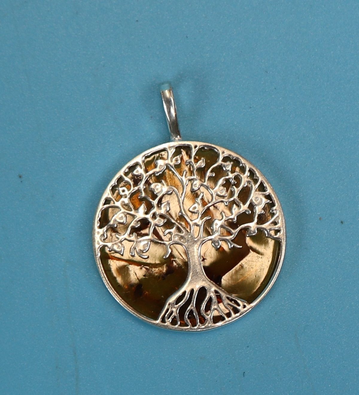 Silver & amber tree of life pendant