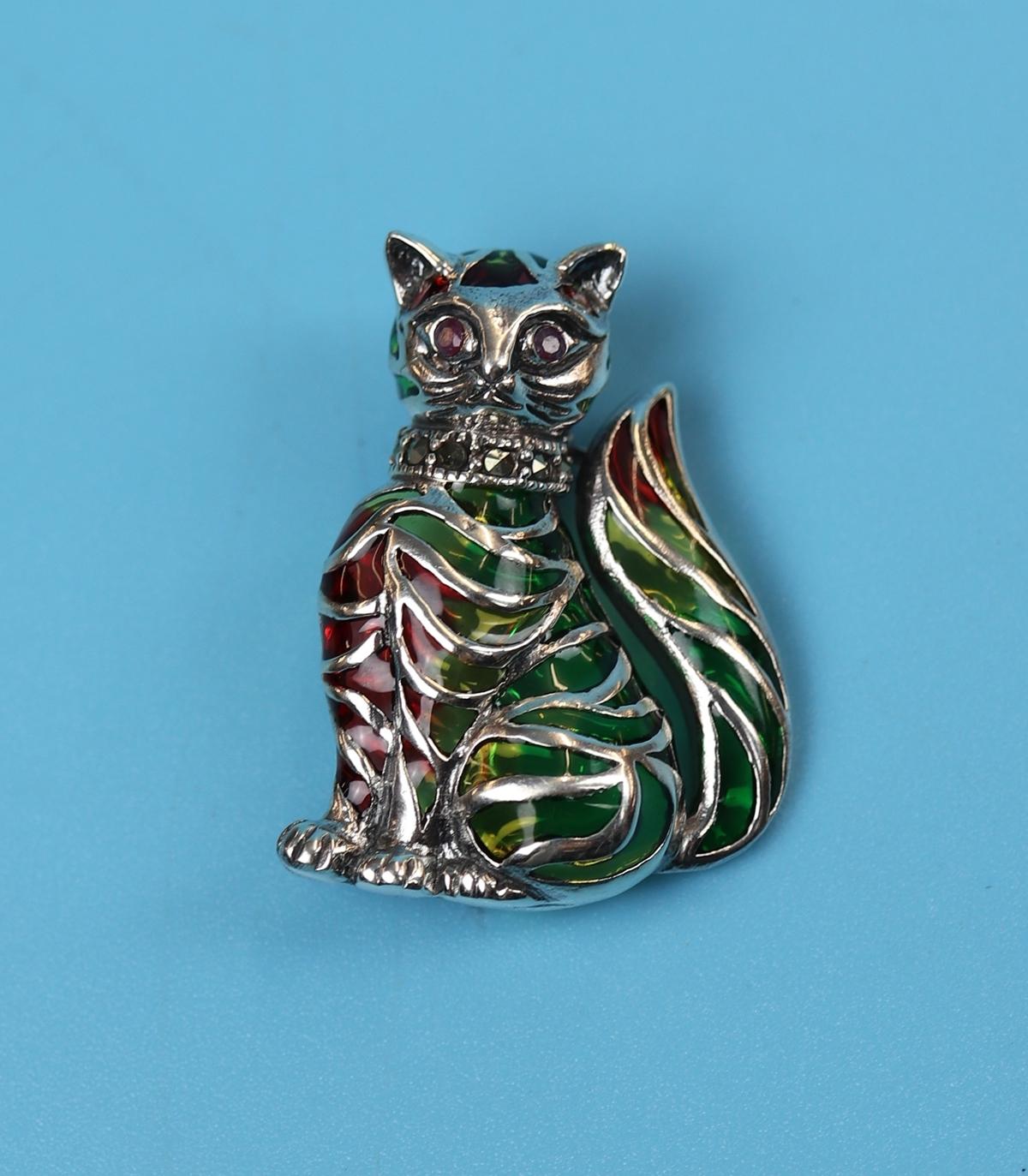 Silver & plique-à-jour enamel cat brooch