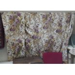 3 sets of heavy lined country house curtains with approx 10 foot drop