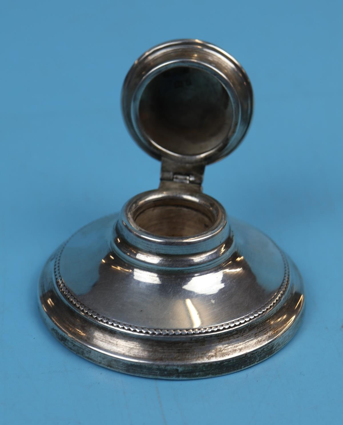 Hallmarked silver matching calendar & inkwell with Ivory tablets - London 1925 - J Aldridge & Sons - Image 9 of 12
