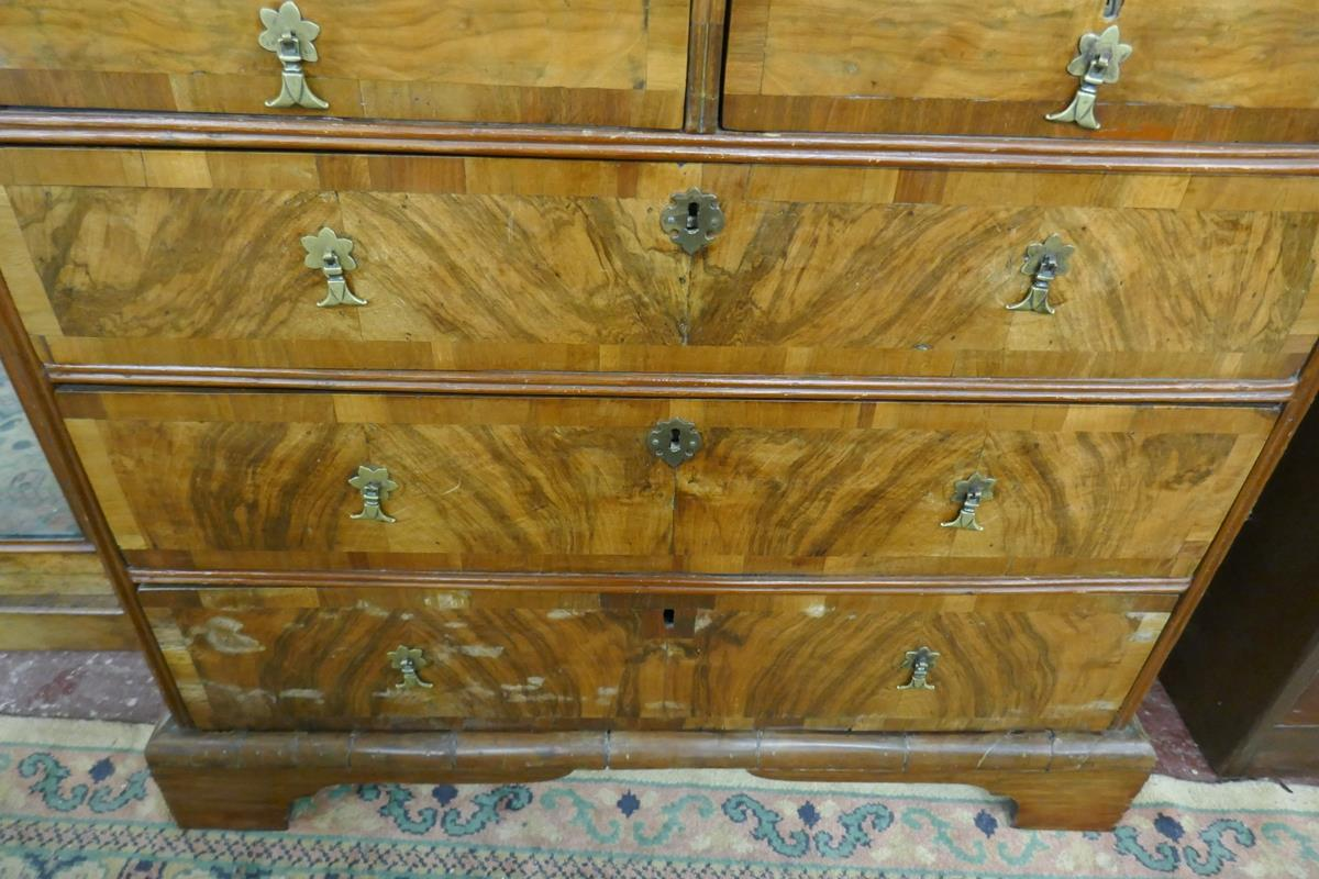 Georgian inlaid walnut chest of 2 over 3 drawers - W: 95cm D: 55cm H:89cm - Image 3 of 9
