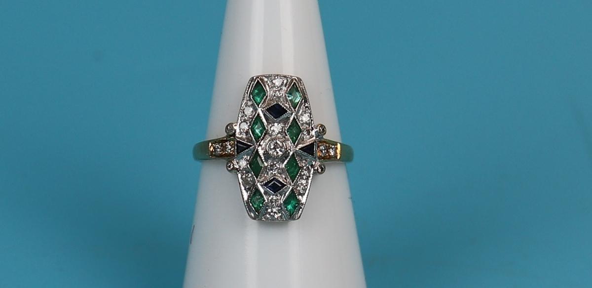 18ct gold Deco style sapphire, emerald & diamond ring