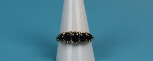 18ct gold diamond & sapphire gypsy set ring