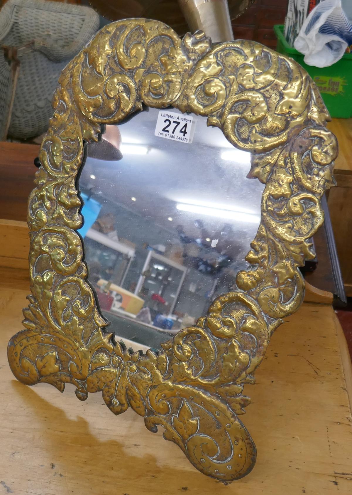 Arts & Crafts brass repousse mirror