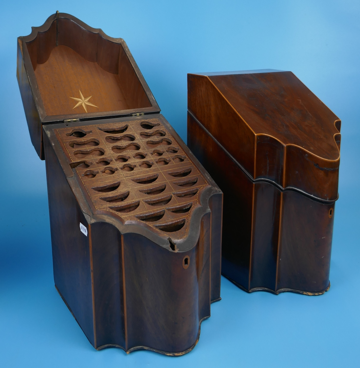 Pair of Georgian mahogany knife boxes with fitted interiors