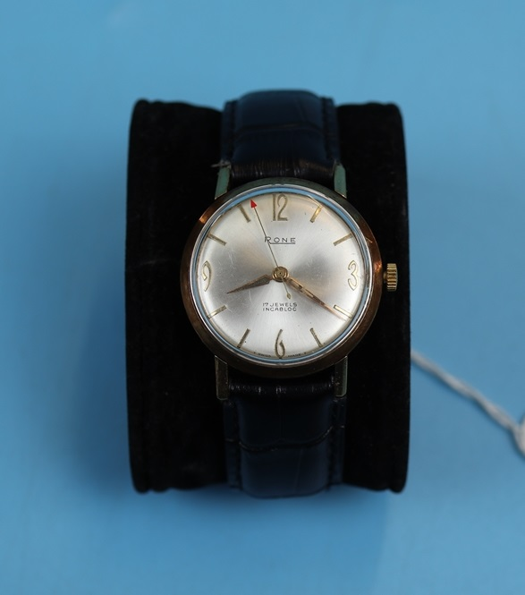 Rone gold 17 Jewels Incabloc gents wristwatch in working order