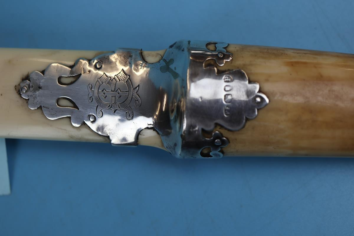 Victorian ivory & horn page turner mounted with hallmarked silver decoration - Circa 1890 - Image 2 of 3