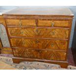 Georgian inlaid walnut chest of 2 over 3 drawers - W: 95cm D: 55cm H:89cm
