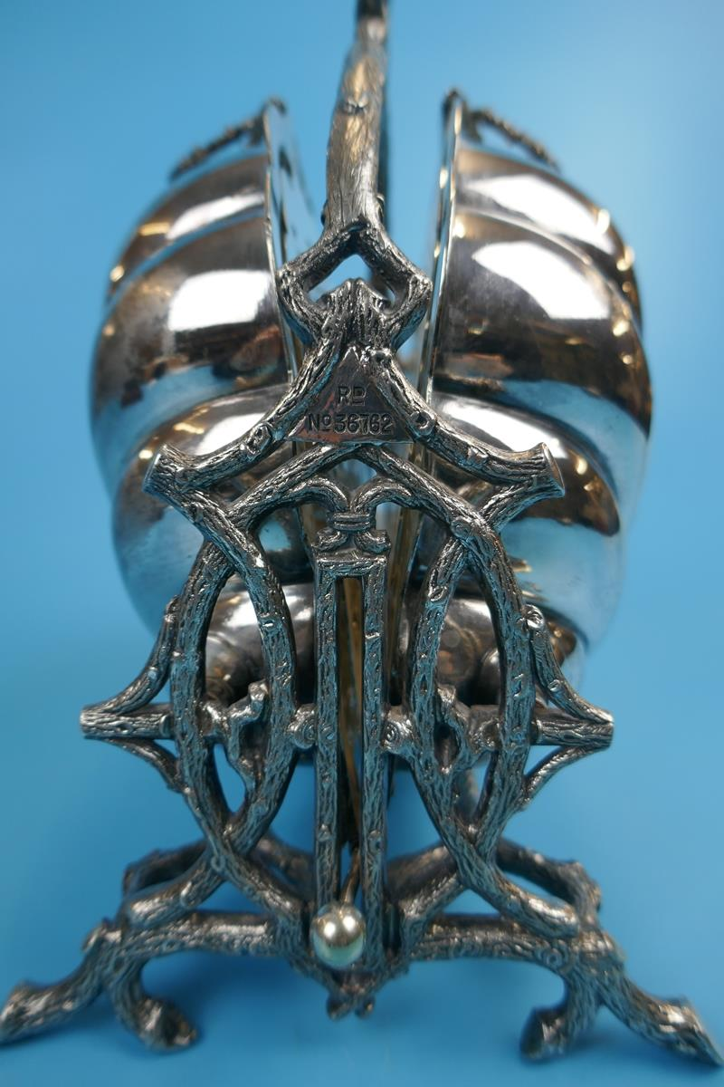 Antique ornate Victorian silver plated biscuit box by Walker and Hall - Rd 36762 - Image 3 of 9