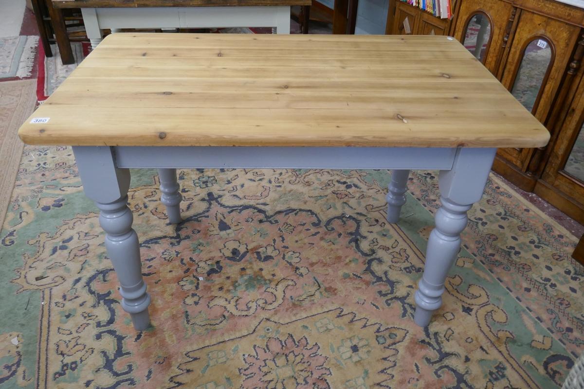 Grey painted scrubtop pine table - L: 122cm W: 75cm H:76cm