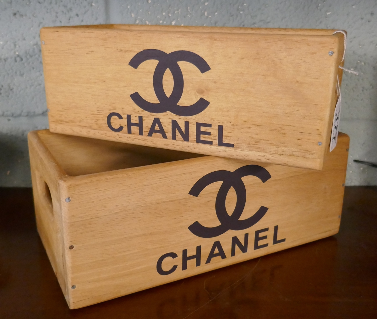 2 graduated Chanel storage boxes