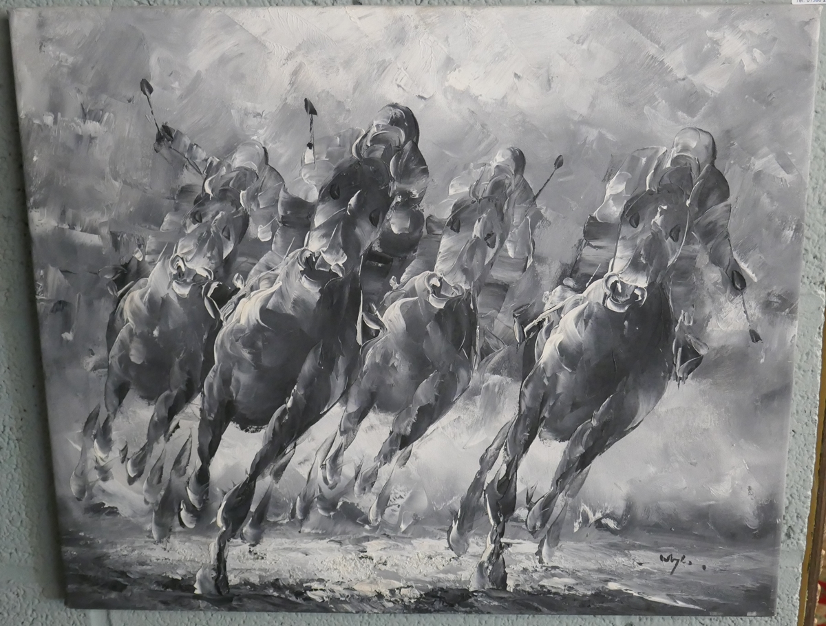 Contemporary horse racing oil on canvas