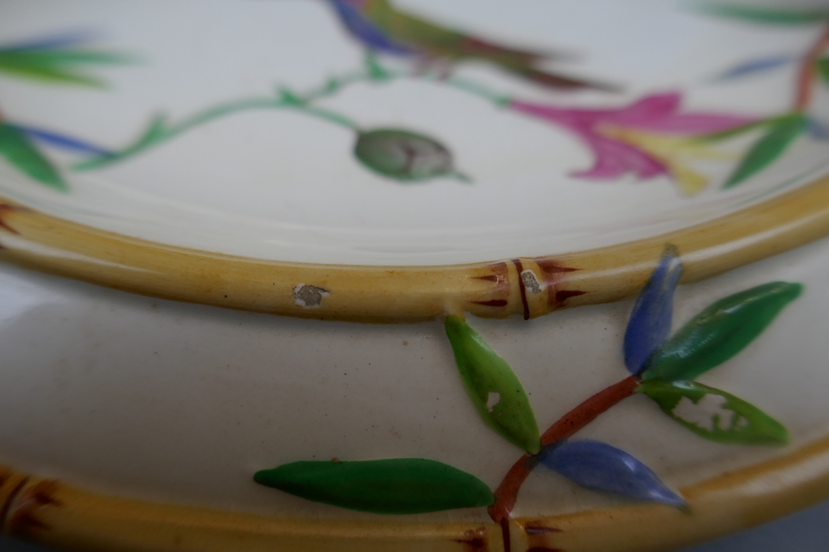 Wedgwood bamboo effect majolica plate depicting wildlife - Image 4 of 9