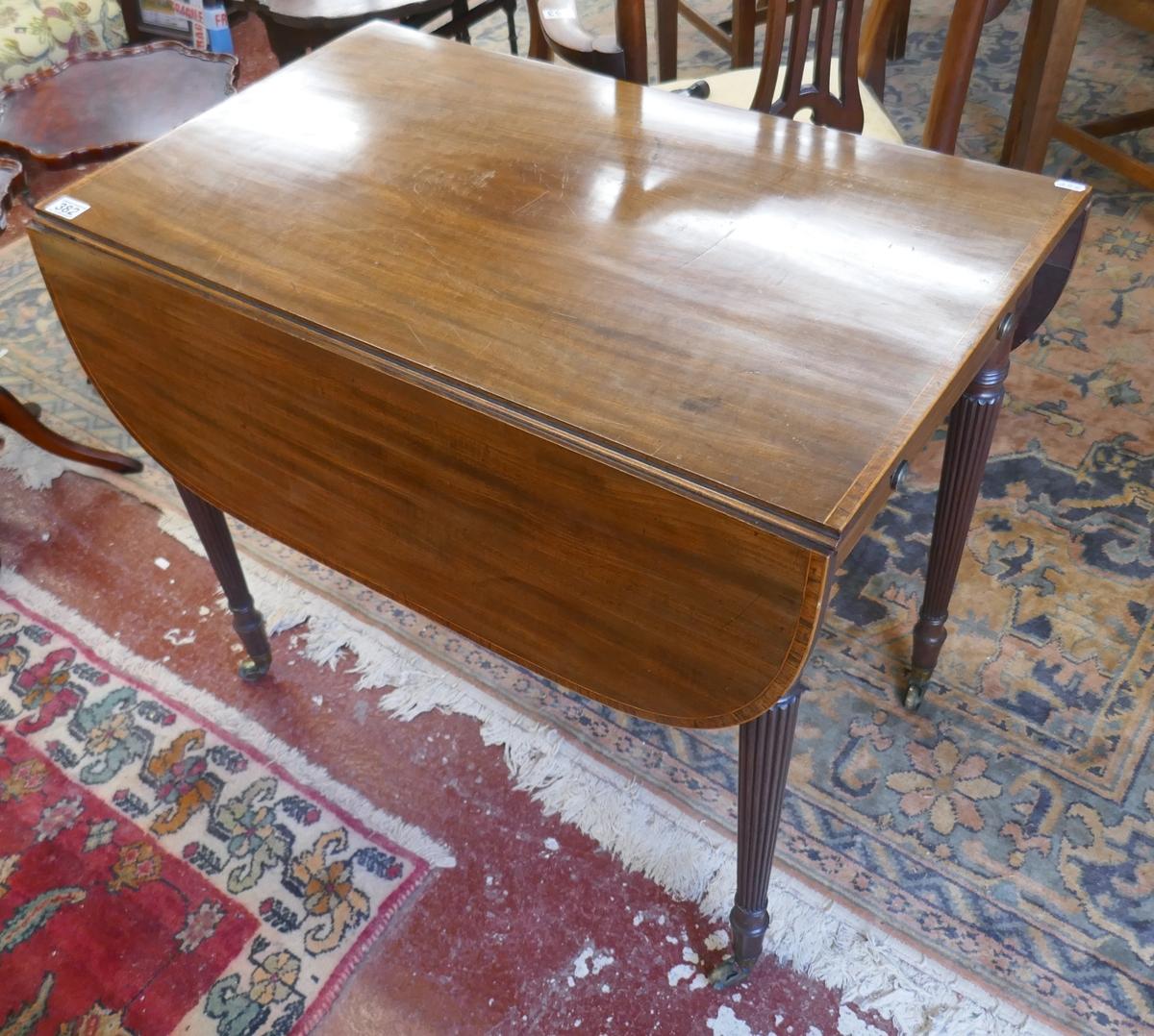 Regency mahogany inlaid drop leaf table