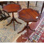 Pair of mahogany pie crust wine tables