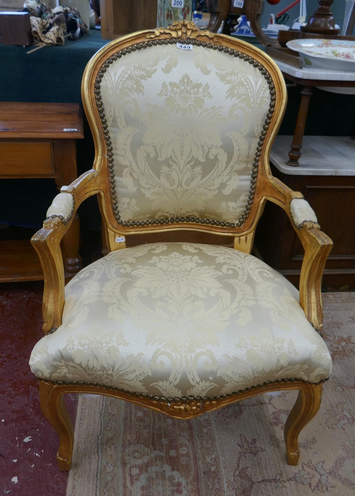 French style gilt framed armchair