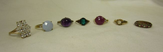7 gold stone set rings - Approx total weight 21g